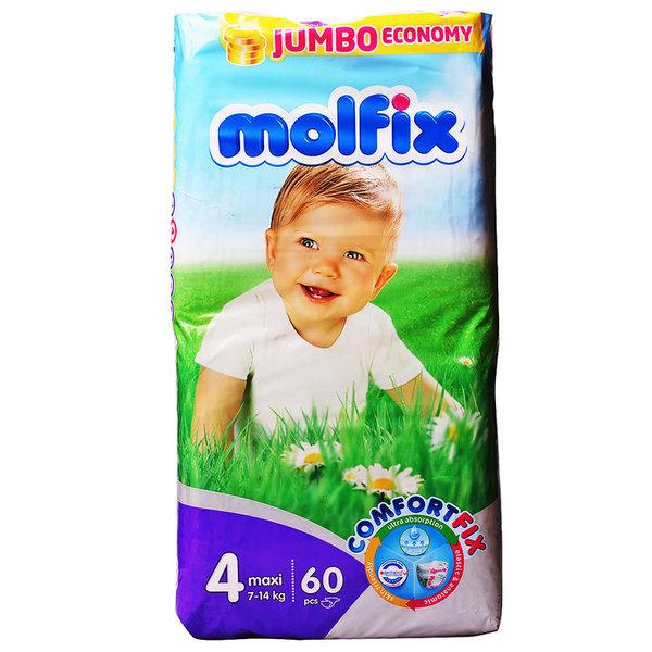 Molfix Бебешки памперси 3D Джъмбо  р-р 4 /7-14 кг/ 60 бр.